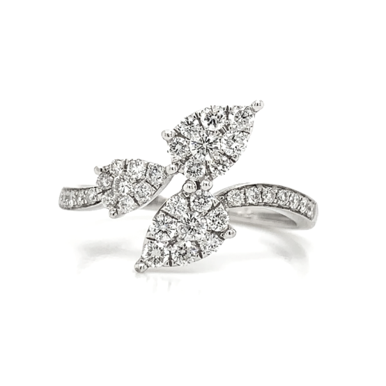 White Gold Pear Shape Leaf Bypass Cluster Diamond Band
