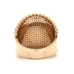 Rose Gold Wide Beaded Edge Pave Diamond Band