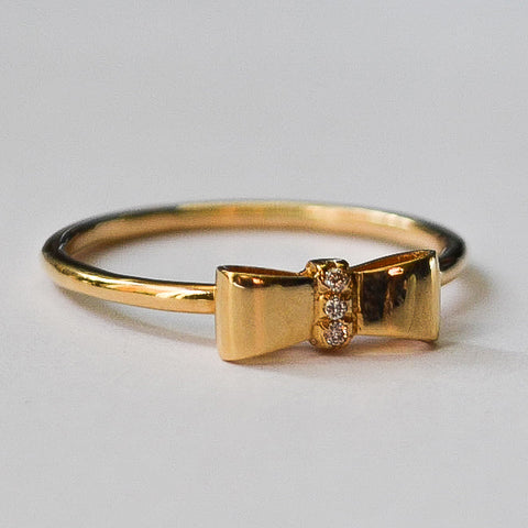 Yellow Delicate Bow Pave Diamond Stackable Ring