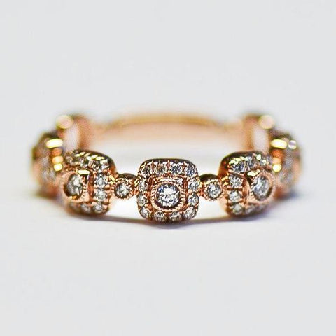 Rose 5 Square Pave & Bezel Set Diamond Band