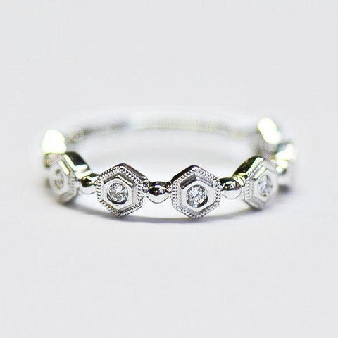 White Gold Hexagon Alternating Milgrain Diamond Band