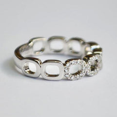 White 5 Open Space Cushion Pave Diamond Band