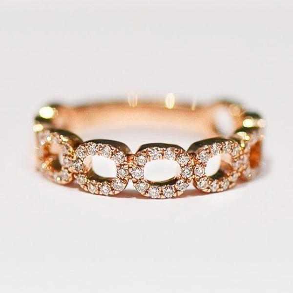 Rose 5 Open Space Cushion Pave Diamond Band