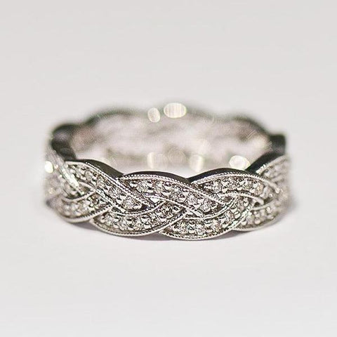 White Braided Wide Pave Diamond Band