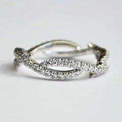 White Two Row Swirl Bypass Pave Diamond Band