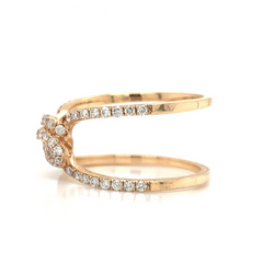 Rose Gold 2 Row Open Knot Pave Diamond Band