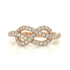 Rose Open Interlocked Infinity Pave Diamond Band