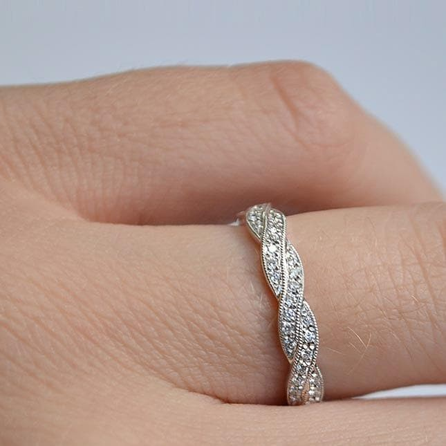 White Gold Braided Twist Milgrain Pave Diamond Band