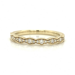Yellow Gold 3 Station Cluster Pave Diamond Band