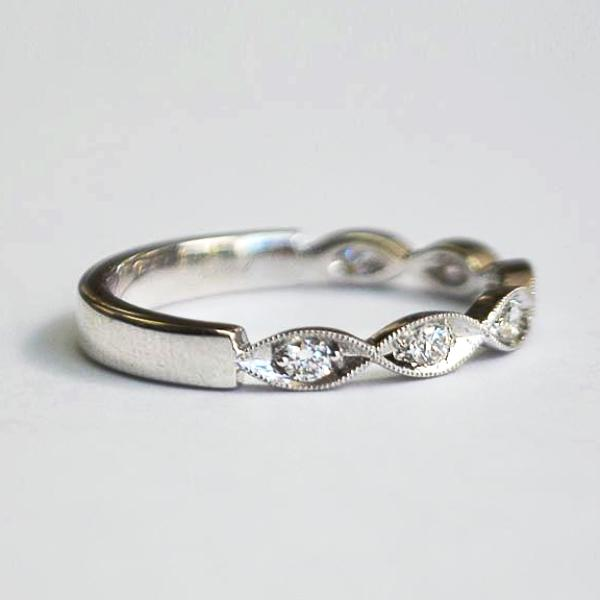 White Marquise Milgrain Diamond Band