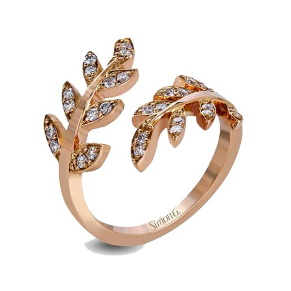 Garden Rose Open Leaf Band with Diamonds