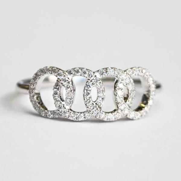 White Interlocking Circle Pave Diamond Band