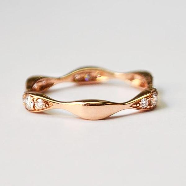 Rose Three Station Marquis Shape Diamond Band