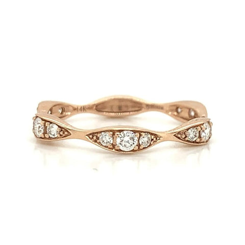 Rose Three Station Marquise Shape Diamond Band