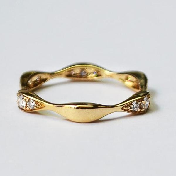 Yellow Three Station Marquise Shape Diamond Band