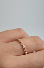Rose 4 Stone Floral Station Diamond Band