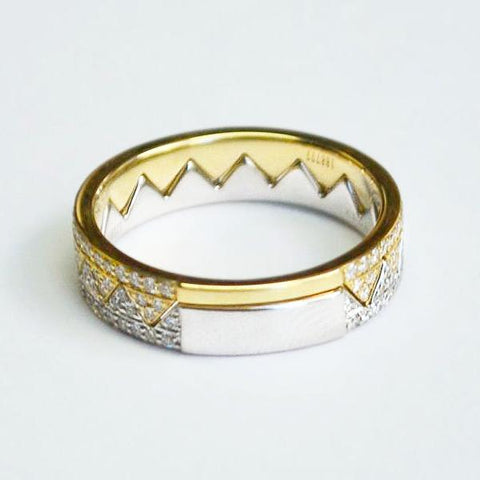 Yellow & White Matching Zigzag Crown Pave Diamond Bands