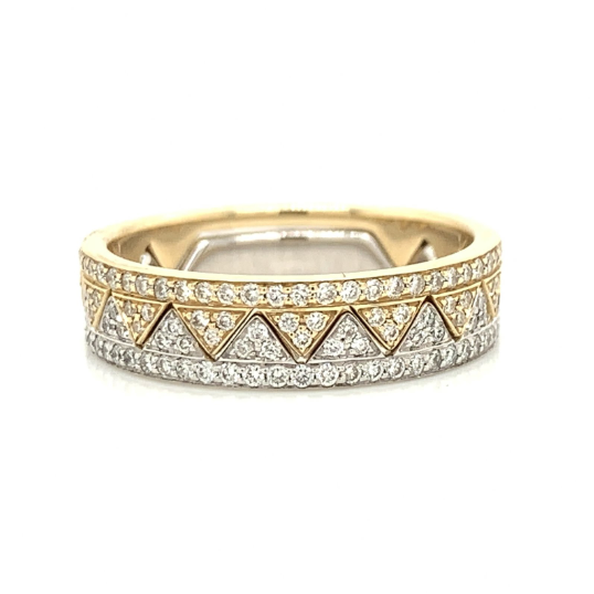 Yellow & White Gold Matching Zigzag Crown Pave Diamond Bands
