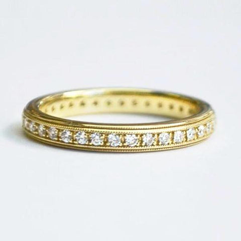 Yellow Milgrain Eternity Pave Diamond Band