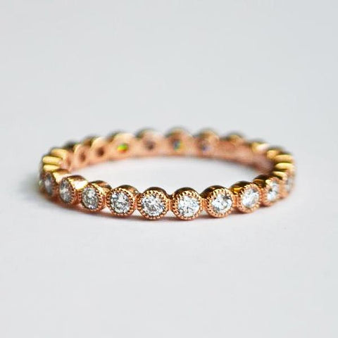 Rose Eternity Round Milgrain Bezel Set Diamond Band