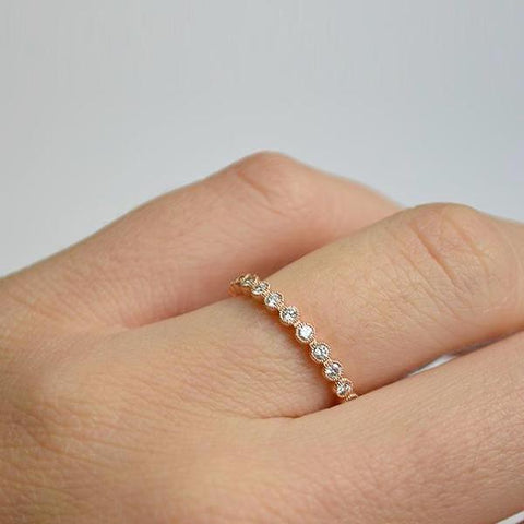 Yellow Bezel Set Eternity Diamond Band