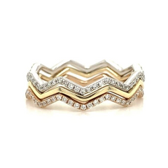 Tri-Tone Zig Zag Stacking Band Set