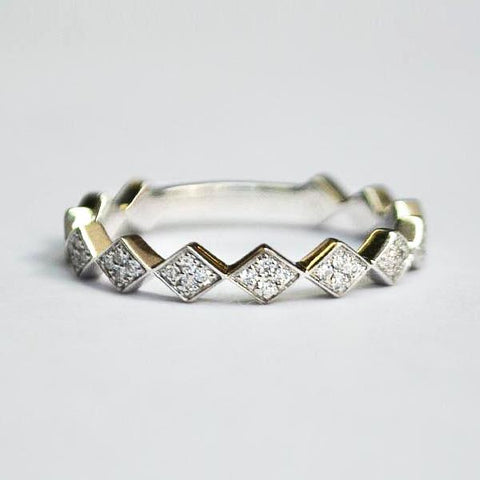 White Off-Set Kite Pave Diamond Band
