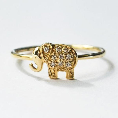 Yellow Delicate Elephant Pave Diamond Stackable Ring