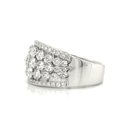 White Gold 5 Row Wide Pave Graduating Diamond Band