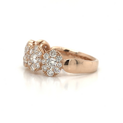 Rose Gold 5 Station Oval Illusion Pave Diamond Band