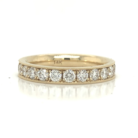 Yellow Gold Large Milgrain Pave Diamond Band