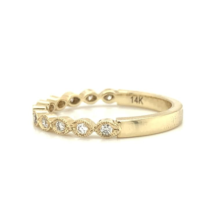 Yellow Gold Petite Marquise Style Pave Diamond Band