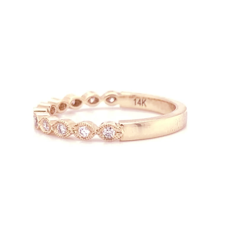 Petite Marquise Style Pave Diamond Band