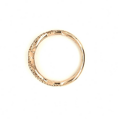 Rose Gold Open Cross Over Pave Diamond Band