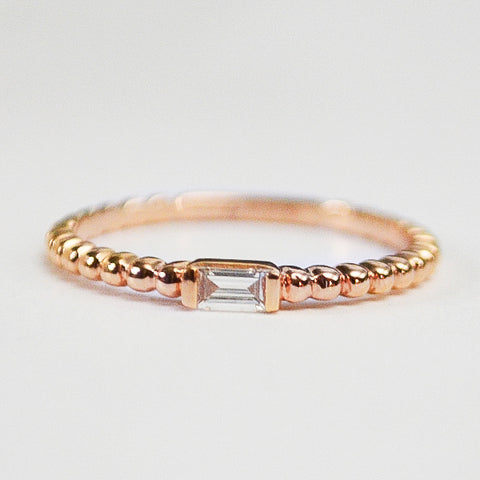 Rose Baguette Station Beaded Diamond Band