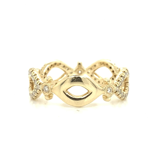 Yellow Gold Open Marquise Style Diamond Band