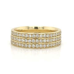Yellow Gold 3 Row Pave Eternity Diamond Band