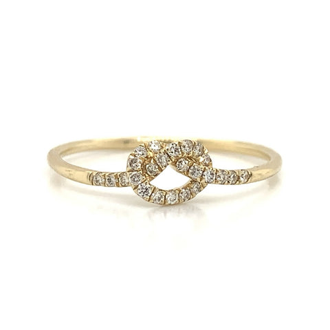 Delicate Knot Diamond Pave Ring