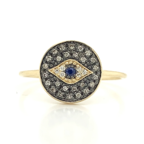 Yellow Evil Eye Round White/Brown Diamond & Sapphire Ring
