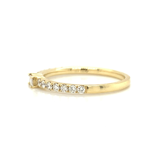 Yellow Gold Baguette Station Pave Diamond Band
