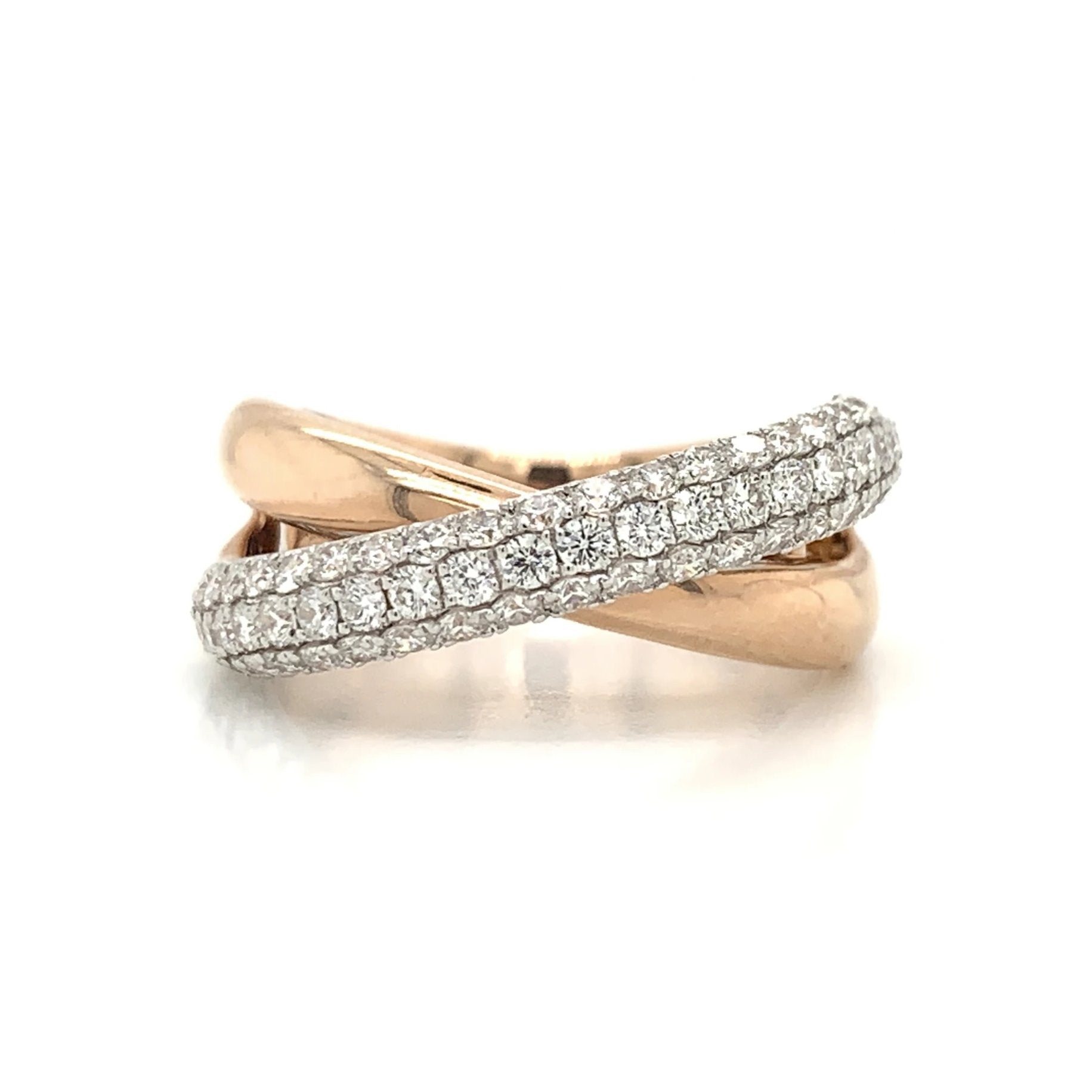 Cross Over 3 Row Dome Pave Diamond Band