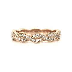 Rose Gold Braided Twist Milgrain Pave Diamond Band