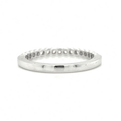 White Gold Scalloped Milgrain Prong Set Diamond Band