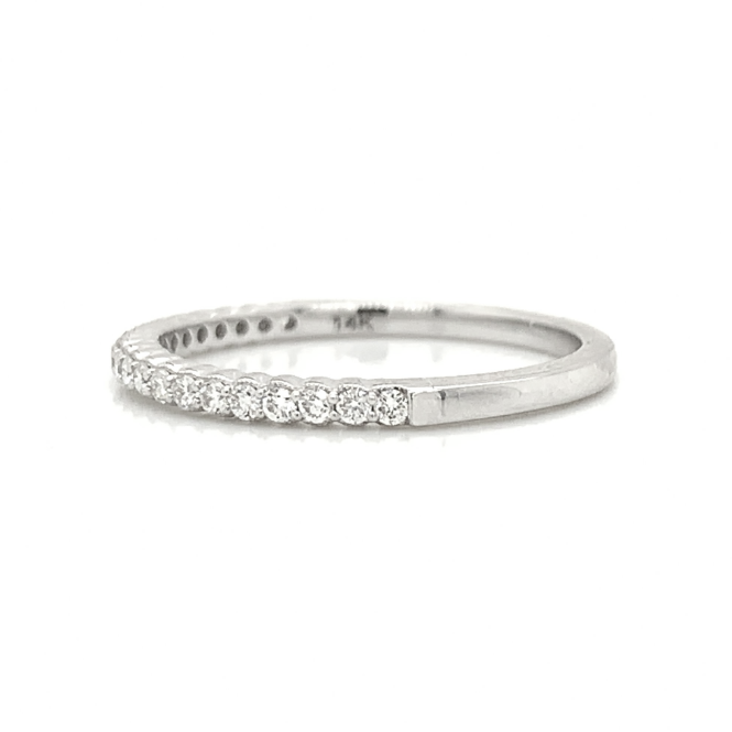 White Gold Petite Scalloped Milgrain Prong Set Diamond Band