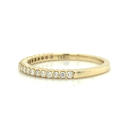 Yellow Gold Petite Scalloped Milgrain Prong Set Diamond Band