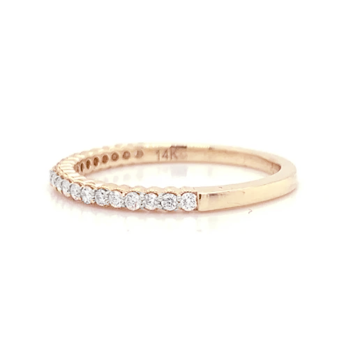 Rose Gold Petite Scalloped Milgrain Prong Set Diamond Band