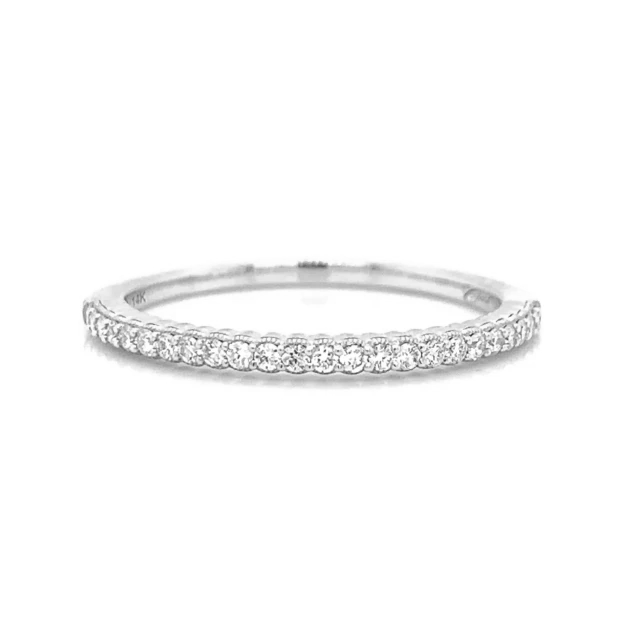 Ultra Petite Scalloped Milgrain Prong Set Diamond Band