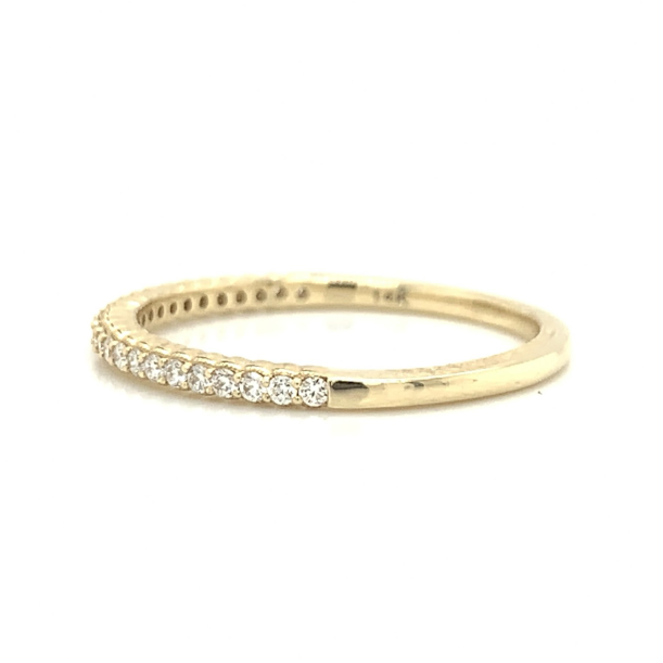 Yellow Gold Ultra Petite Scalloped Milgrain Prong Set Diamond Band