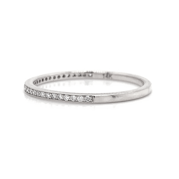 White Gold Ultra Petite Milgrain Pave Diamond Band