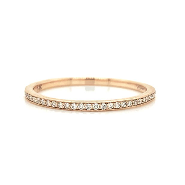 Rose Gold Ultra Petite Milgrain Pave Diamond Band